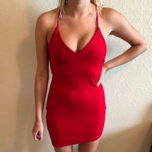 Red Open Back Bodycon Dress